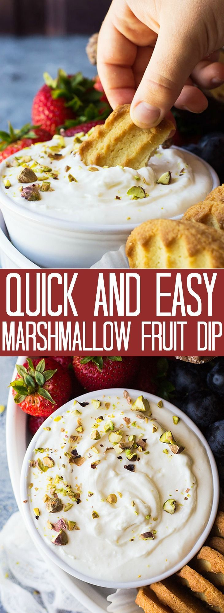 THIS QUICK AND EASY MARSHMALLOW FRUIT DIP IS LIGHT, FLUFFY AND CREAMY! IT GOES GREAT AT PARTIES AND IS PERFECT FOR DIPPING FRUIT!