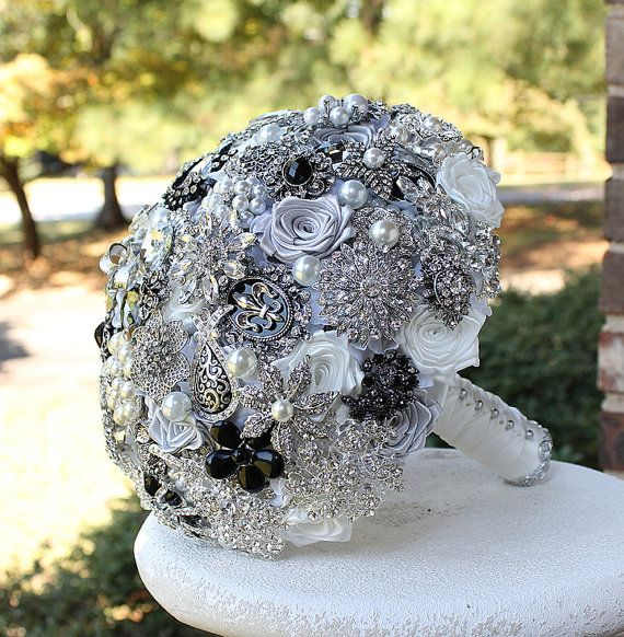 Black White And Silver Wedding Brooch Bouquet By Annasinclair