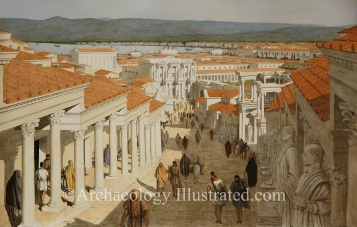 Ephesus, Curetes Street in the 2nd century AD.  Capital of the Roman province of Asia in today's Turkey on the Aegean coast,  Ephesus was one of the wealthiest and most important cities in the world of the New Testament.  The Apostle Paul spent two years in Ephesus preaching as described in Acts 19:1-11. Reconstruction of Ephesus based on archaeological excavations and photos taken at the site.  Further details on www.Archaeologyillustrated.com Biblical images by Balage Balogh