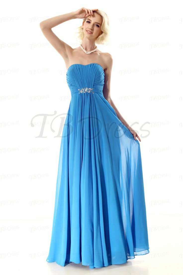 pleated a line strapless beading long prom dress