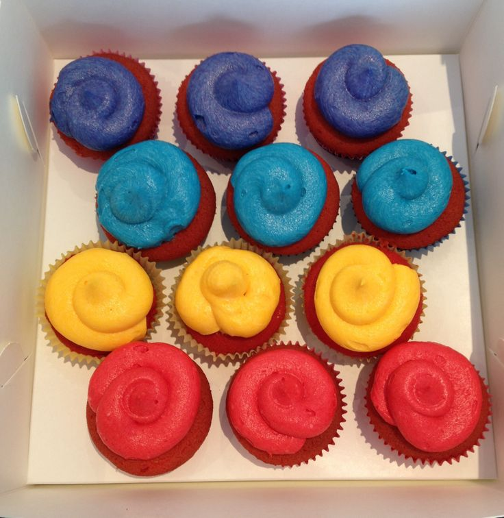 Wiggles inspired cupcakes. Vanilla cake & Strawberry frosting (Wiggles Colours - Red, Yellow, Blue and Purple)