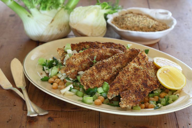 Dukkah Coated Garfish with Chickpeas, Fennel and Parsley Salad - Maggie Beer