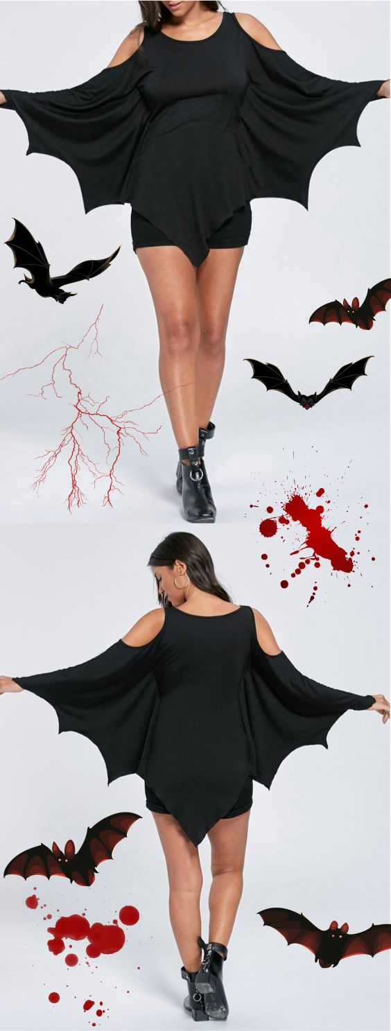 Up to 60% OFF! Halloween Cold Shoulder Batwing Top. Zaful, zaful shop, zaful tops,tank top,floral shirt,T-shirt,Tees,t shirts,teeshirts,t shirt diy,womens t shirts,t shirt design,ladies top, t shirt,blouses,blouses for women,blouses outfit,casual blouse,chic,chic blouse,choker necklace outfit,choker,choker outfit,choker top,choker top outfit, fall fashion,fall outfits, winter outfits, winter fashion,halloween costumes,halloween,halloween outfits,halloween tops. @zaful Extra 10% OFF…