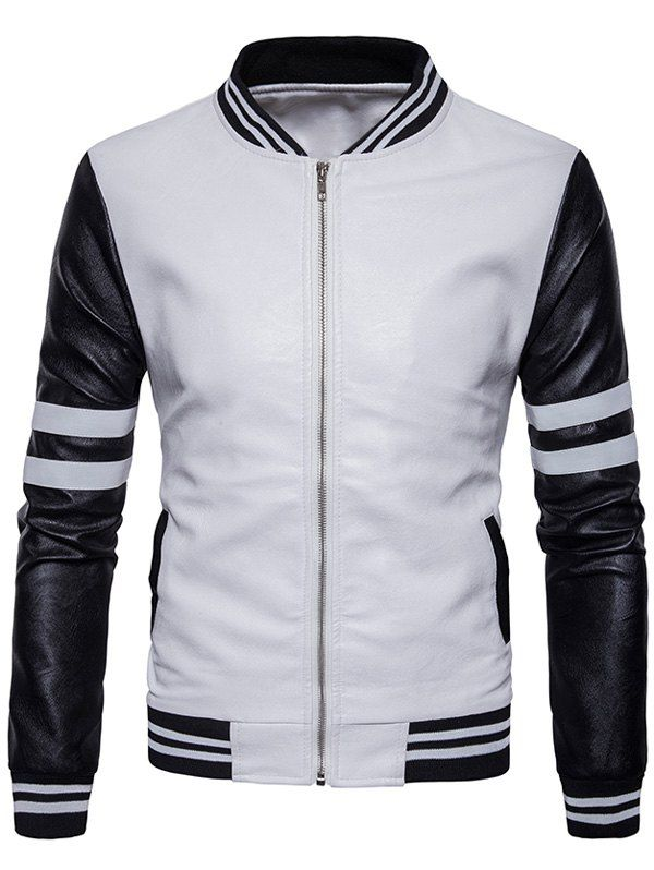 Stripe Zip Up Faux Leather Baseball Jacket White S Ropa Masculina Moda Ropa Hombre Ropa Elegante Hombre