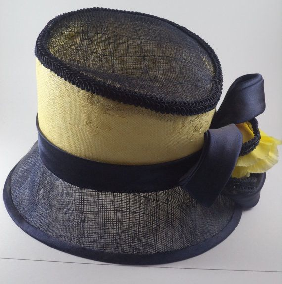 Navy and yellow cloche with contrast crown. by MillinerybyMelissa