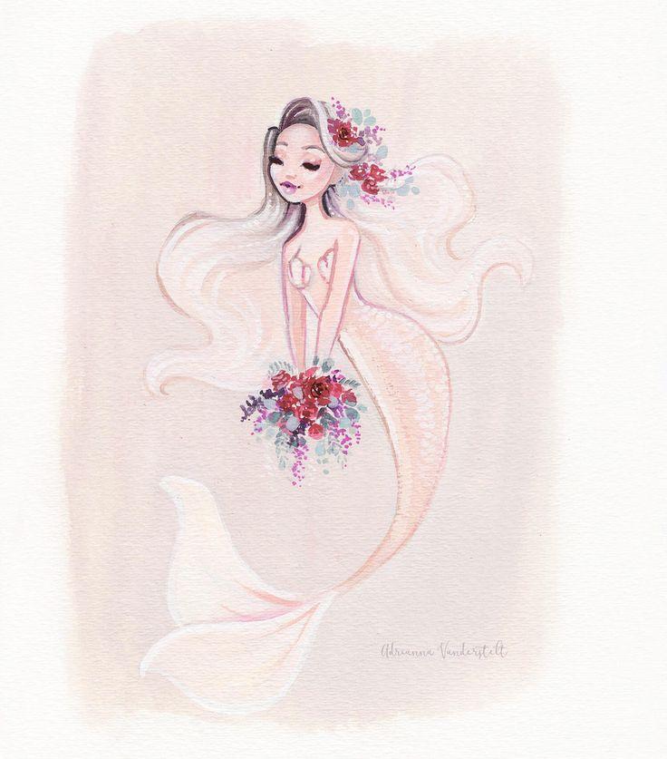 Whimsical flower mermaid art print Adrianna Vanderstelt