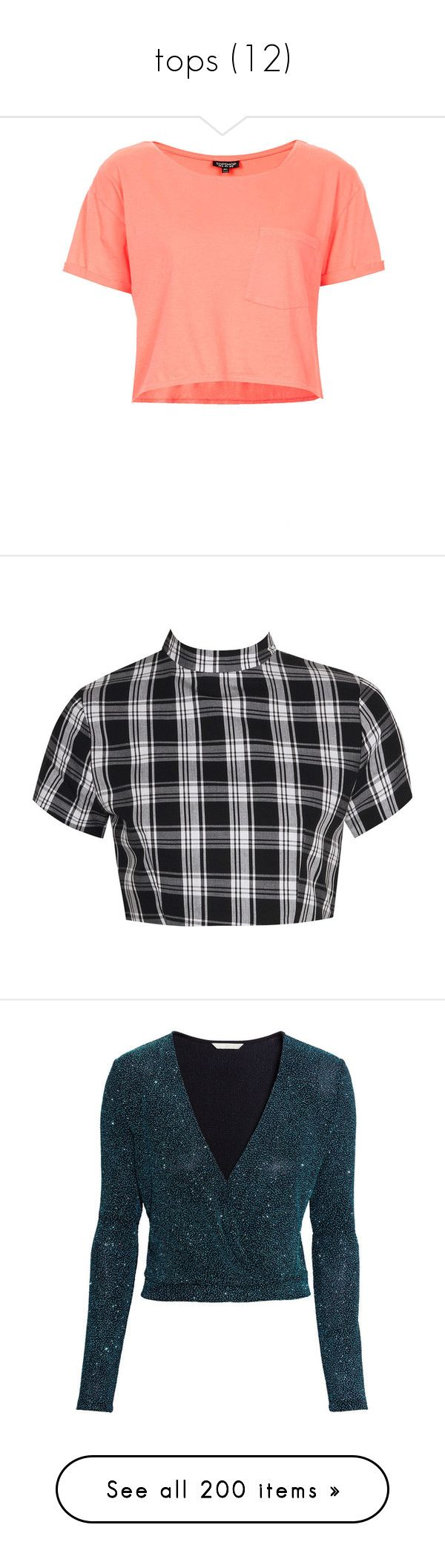 """""""tops (12)"""" by geniusmermaid on Polyvore featuring tops, t-shirts, shirts, crop tops, topshop, coral, crop t shirt, crop top, pocket t shirts and roll up sleeve shirt"""