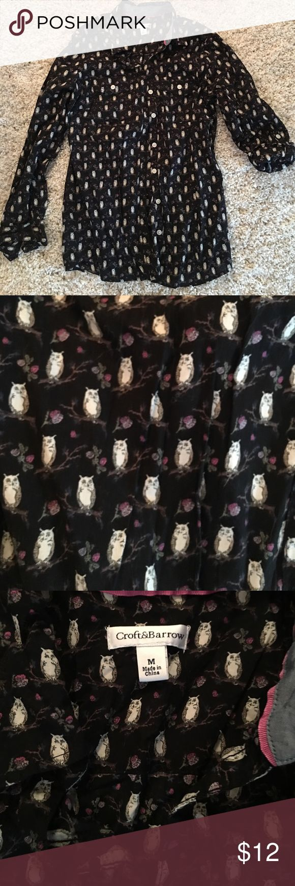 Button Down Owl Shirt So cute! Owl print on black background. Excellent condition. Worn once croft & barrow Tops Button Down Shirts