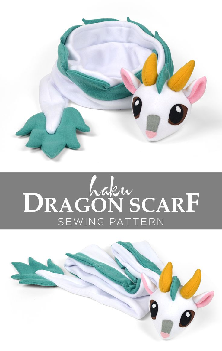 Free sewing tutorial: A warm fleece scarf done up to look like Haku from Spirited Away; but you can make it look like any dragon you like as well!