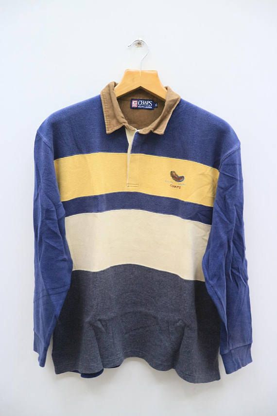 8217ca9ef0 Vintage CHAPS RALPH Lauren Long Sleeve Rugby Polo Shirt Size ...