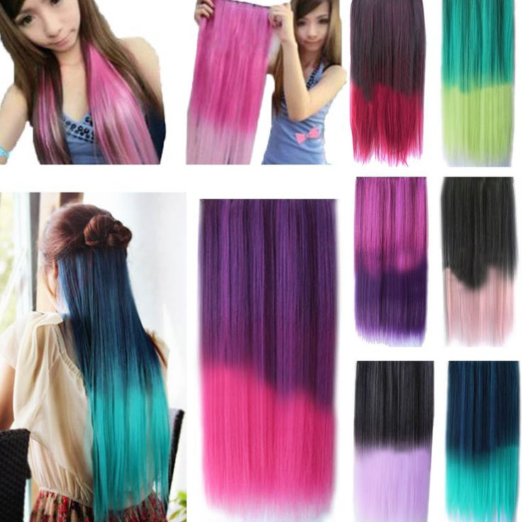 5 Clips Heat Resistant Fiber Synthetic Hair Extensions Straight T Color More Colors Womens High Temperature Hairpiece HB88