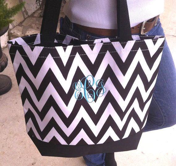 Black Chevron Canvas Tote Bag with Embroidery by TumbleweedBabies