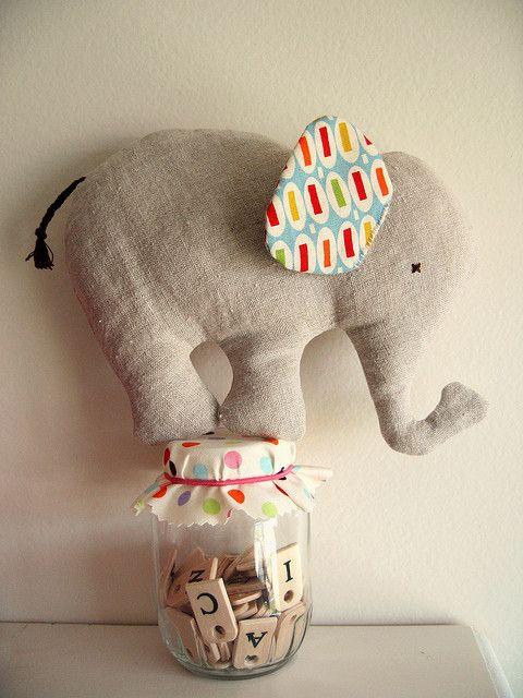 Nana Company elephant toy... made from baby clothes as a memory/keepsake