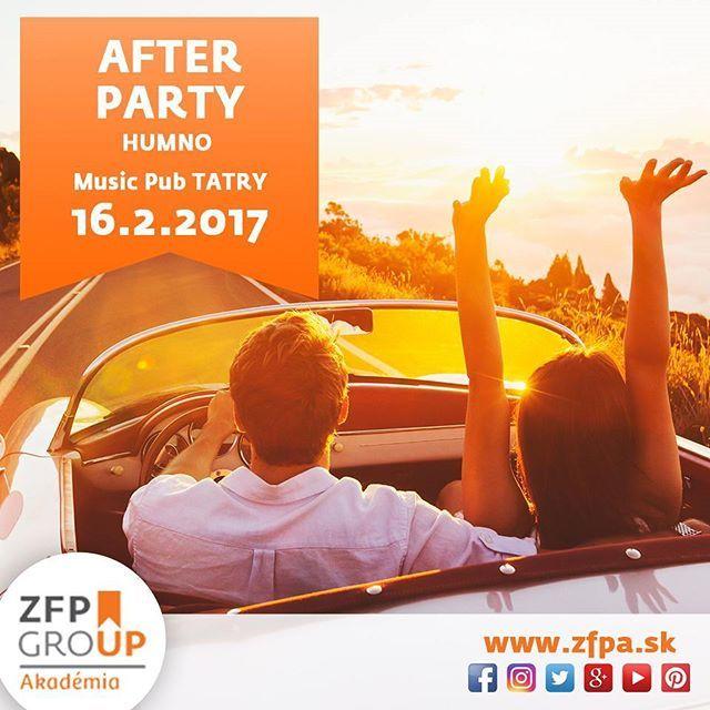 Nezabudnite na pripravenú AFTER PARTY, ktorá bude následovať po ukončení konferecnie! Po pracovných povinnostiach si treba aj oddýchnuť a zabaviť sa. Tešíme sa vás.  #afterparty #zfpa #humno #slovakia #best #up #pokonferencii