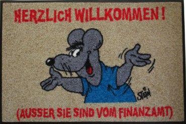 Waschbare Fußmatte ©Uli Stein - Maus - Finanzamt wash+dry 50x75cm