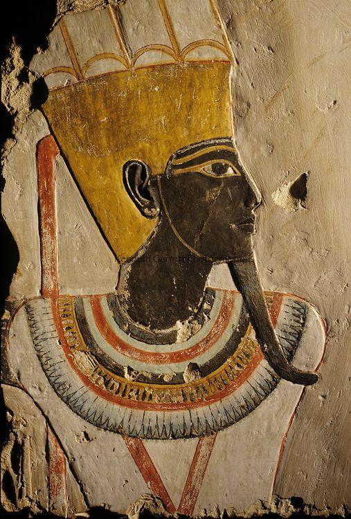 Deir el Bahri; Limestone relief; painted God Amun-Min.