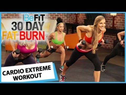 ▶ 30 Day Fat Burn: Cardio Extreme Workout - YouTube  Intense 10 minute workouts.  great for middle of the day.