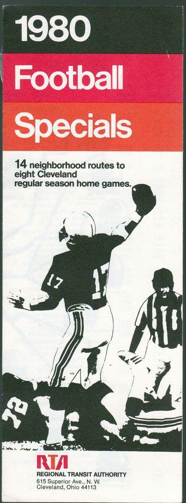 1980 CLEVELAND BROWNS REGIONAL TRANSIT AUTHORITY FOOTBALL SCHEDULE RTA BROCHURE  #ClevelandBrowns