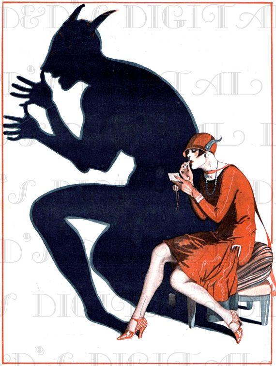A Little DEVIL! Vintage Illustration.