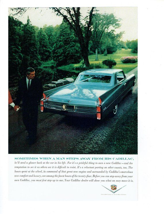 1963 Advertisement Cadillac 63 60s Car For Life Blue Hardtop Prideful Luxury Classic Car Owner Driver Dealership Man Cave Wall Art Decor