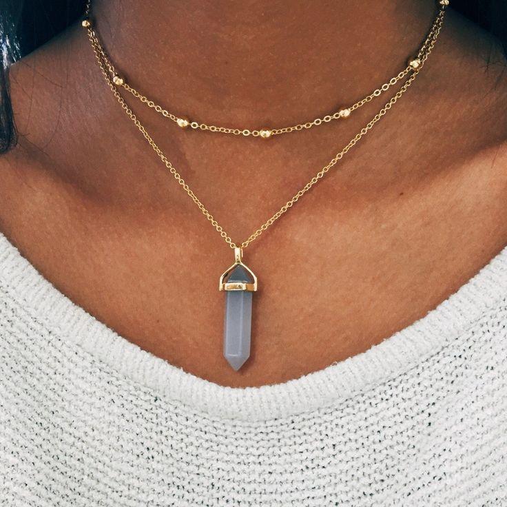 Smoky Grey Crystal Necklace - Gold... website has cute necklaces