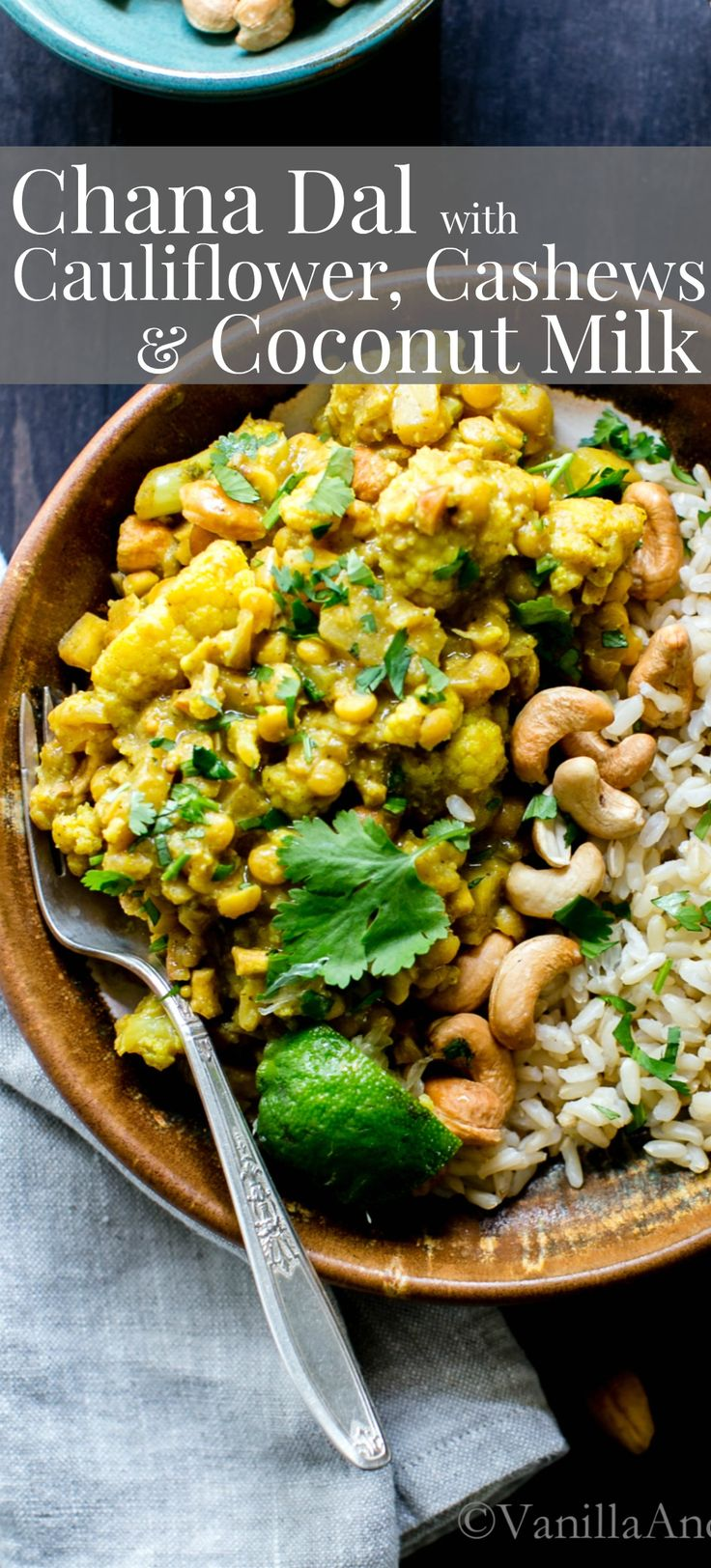 Chana Dal with Cauliflower, Cashews and Coconut Milk comes together in 50 minutes and feeds a small crowd. Excellent for dinner or leftovers for lunch. Vegan | Vegetarian | Thai | Gluten Free | Recipes | Healthy