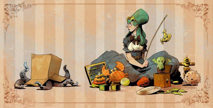 Brian Kesinger. Otto and Victoria. Steampunk art.
