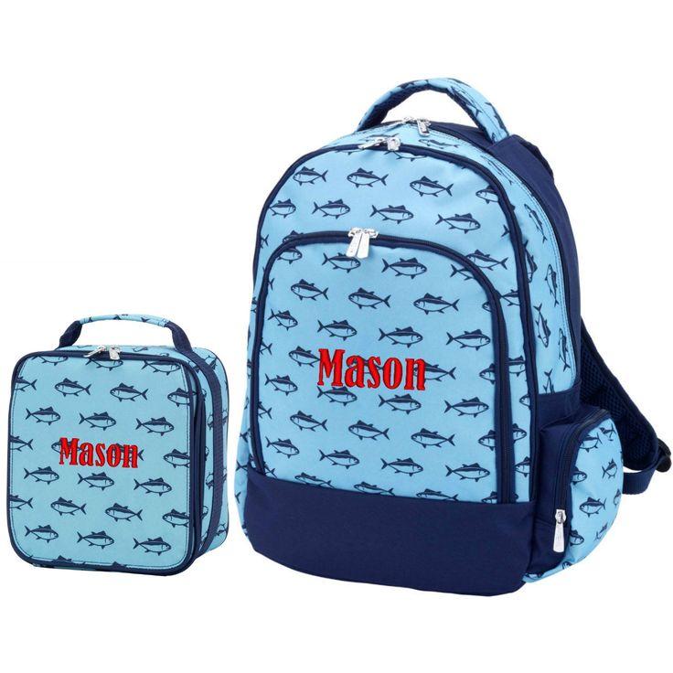 Personalized Matching Boys Backpack & Lunch Bag Shark Finn Blue