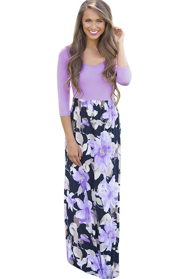 f56be44f6b8c #WithChic #chicoftheday, Simple Cheap Chic, Shop Light Purple Round Neck  Floral Printed Casual Maxi Dress online.