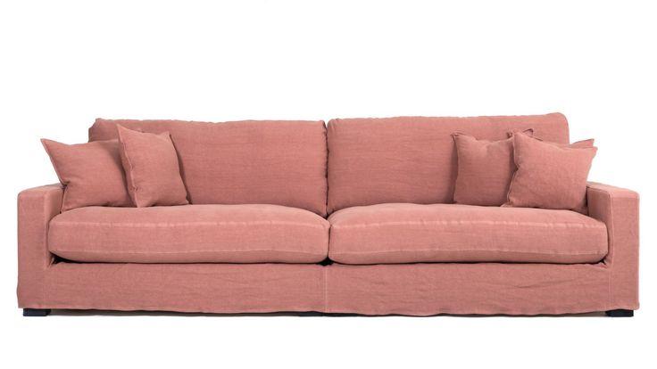 Rosa Valen XL soffa med avtagbar linneklädsel. Linne, djup, låg, soffa, stor, rymlig, möbler, inredning, vardagsrum, dun. http://sweef.se/sweef-lyx/507-valen-loose-linne-edition.html