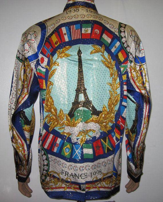 Vintage1990s Frankrijk Metallic Silk Shirt, de Eiffeltoren, de World Cup Soccer…