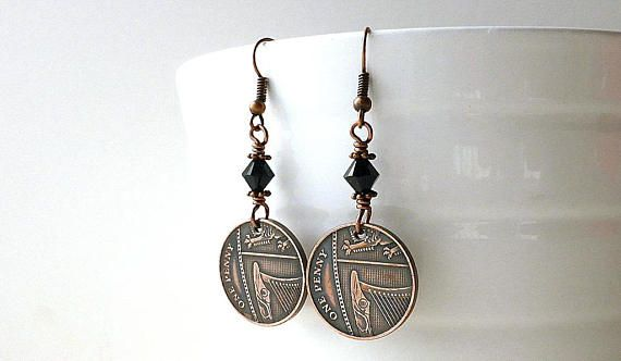 Coin earrings English Coin jewelry Coins Gothic earrings