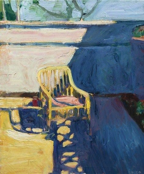 """Cane Chair Outside,"" by Richard Diebenkorn, oil on canvas, 32 by 27 inches, 1959"