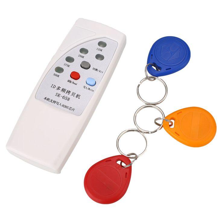 White RFID Handheld 125KHz ID Door Access Card Copier Writer Duplicator Cloner with 3 Writable Cards