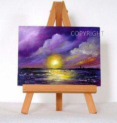 Púrpura puesta de sol 2 original pintura al óleo por valdasfineart