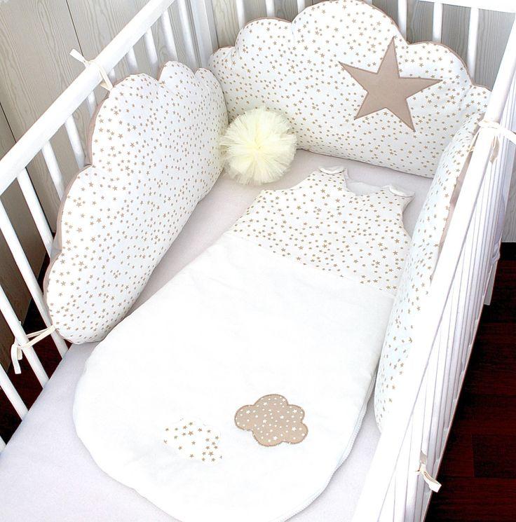 Gigoteuse hiver fille 6 - 18 mois, blanche et beige à étoiles