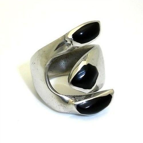 Alpaca Onyx Silver Wrap Ring Handmade and Fair Trade
