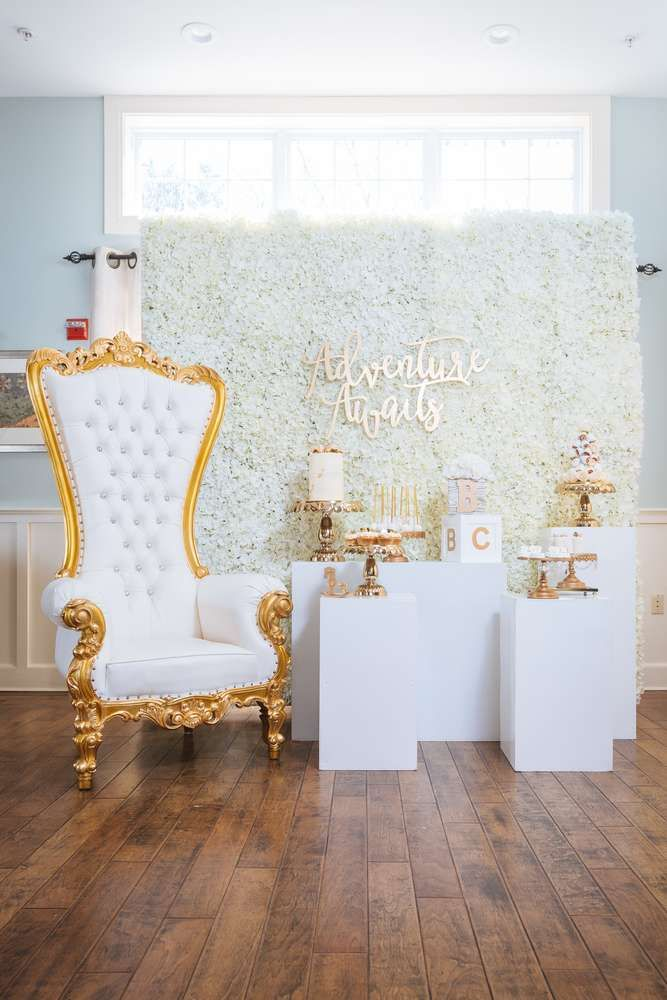 White And Gold Themed Baby Shower Catchmyparty Com Adventure Awaits Baby Shower Gold Baby Shower Decorations White Baby Showers