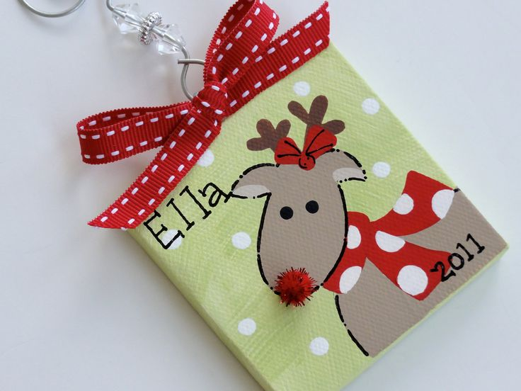 Hand Painted Canvas Rudolph the Reindeer by threedoodlebugs, $7.25