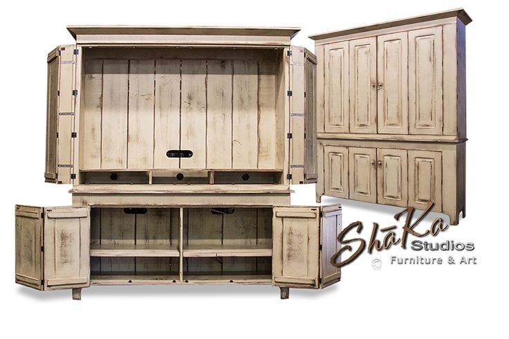 Custom large TV cabinet doors handcrafted by Shane Rodarte, custom furniture maker in Houston, Texas.