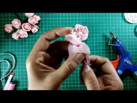 tutorial rose sifon fabrics (tutorial bross mawar lipit) - YouTube