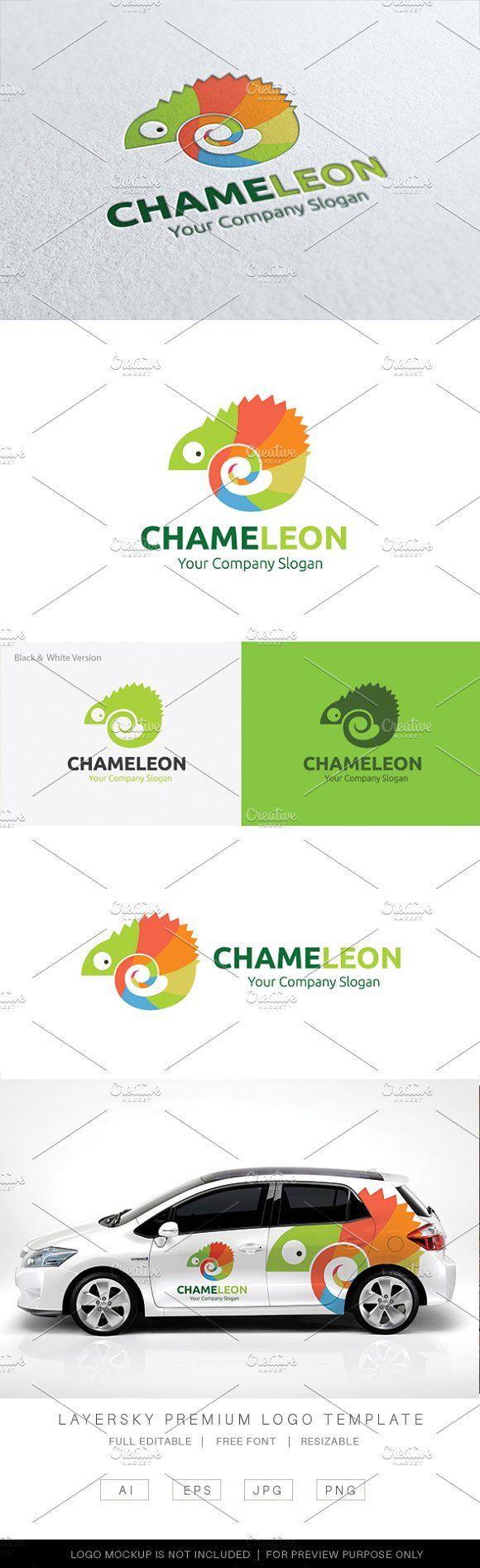 Chameleon Logo by Super Pig Shop on @creativemarket