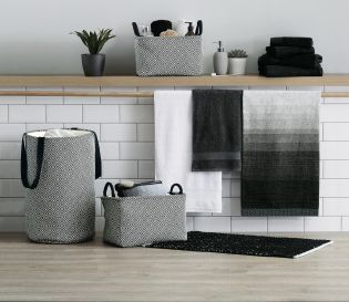 Monochrome styling for your bathroom, because who said that's the most boring house in the home? Not us!