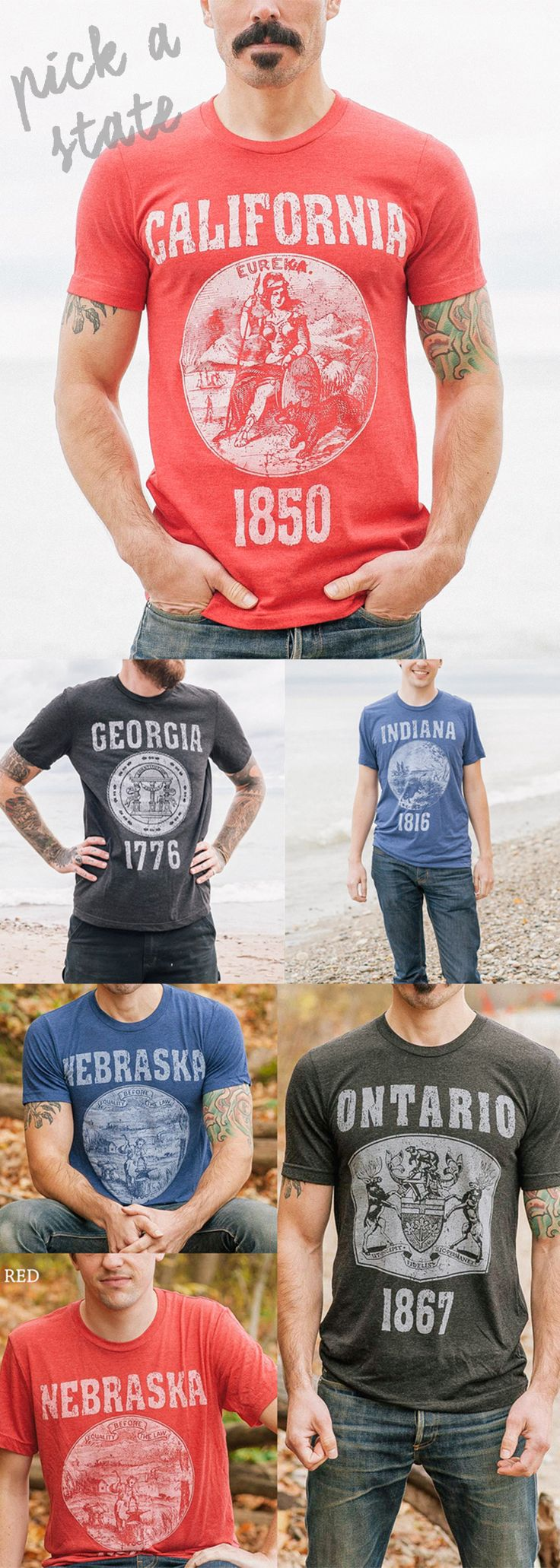 An ode to America and all 50 of its great states, this vintage-inspired tee is adorned with the official seal for the state of your choosing. Each historical emblem is printed front and center on super soft triblend fabric, and the tees are labeled with the state name and the year it was founded in blocky collegiate-style letters. The soft ink blends right into the fabric, for a comfy tee that reps the Midwest, one of the original colonies or your favorite state from sea to shining sea.