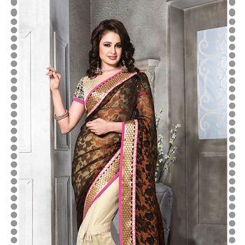 Black and Off White Faux Georgette Brasso and Net Saree with Blouse