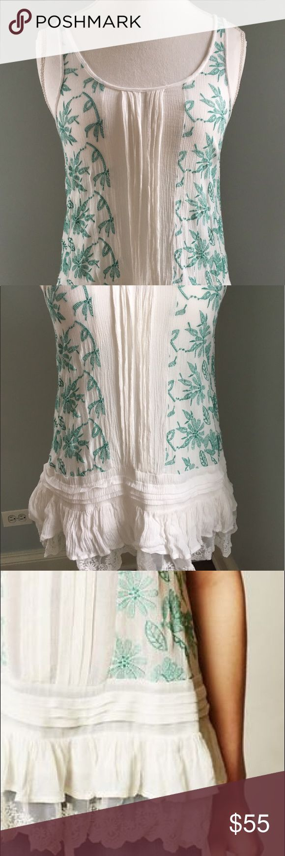 Lilka Embroidered Lace Tank Top Lilka Sinaloa lace green tank top from Anthropologie! White linen/gauze tank top with green embroidered flowers and a lace hem! Anthropologie Tops Tank Tops