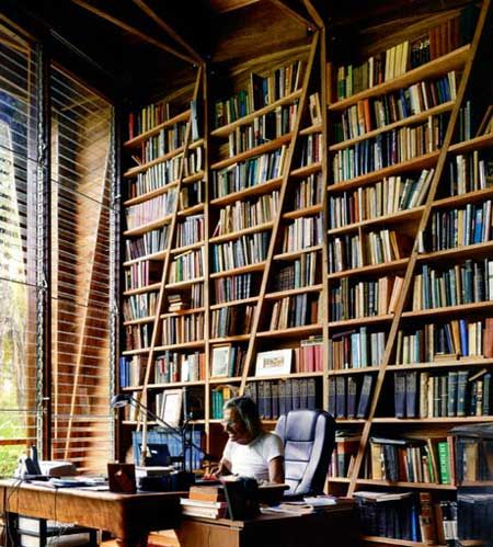diagonal book cases: Bookshelves, Bookcases, Home Libraries, Dreams, Book Shelves, Plays Ideas, Writers, House, Reading Rooms