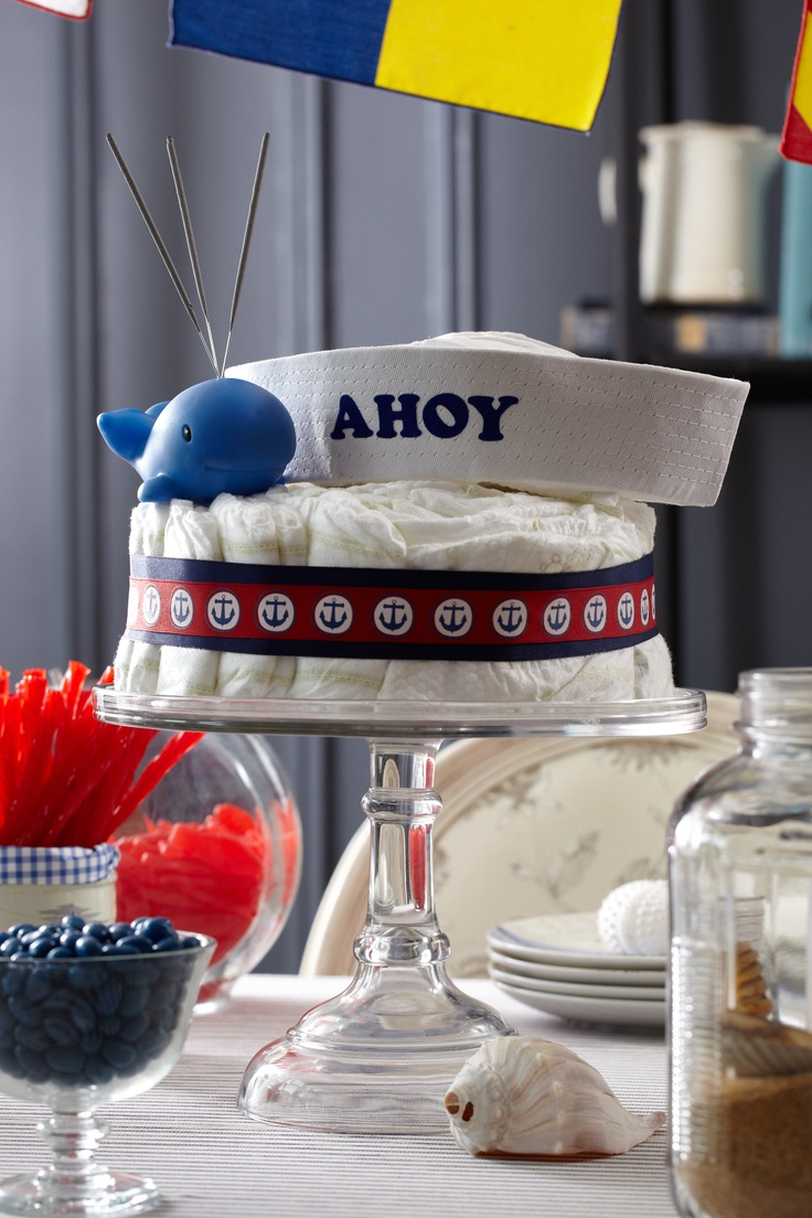 Ahoy Baby Diaper Cake. A single-tiered diaper cake with 100 HUGGIES® Pure & Natural Diapers.