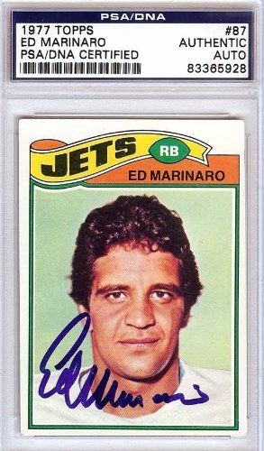 Ed Marinaro Autographed/Hand Signed 1977 Topps Card PSA/DNA #83365928 by Hall of Fame Memorabilia. $56.95. This is a 1977 Topps Card that has been hand signed by Ed Marinaro. It has been authenticated by PSA/DNA and comes encapsulated in their tamper-proof holder.
