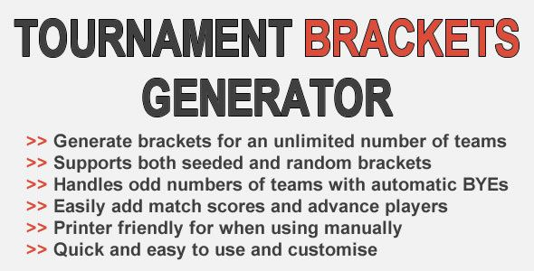 Tournament Brackets Generator . Generate both seeded and random tournament brackets. Supports unlimited numbers of teams and players with custom names or automatically generated numeric values. Handles odd player/team numbers with automatic BYEs. Add match results and advance the winners into the next
